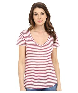 Paige | Lynnea Tee White/Rose Plum Stripe Womens Short Sleeve Pullover