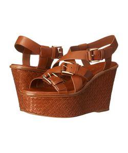 Michael Kors | Varick Luggage Vachetta Womens Wedge Shoes