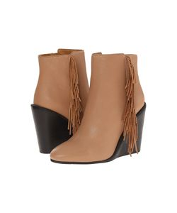 See by Chloé | See By Chloe Pebbled Leather Wedge Bootie With A Fringe