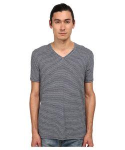 Vince | Stripe Short Sleeve V-Neck Coastal/Heather Blue Mens Clothing