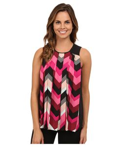 Vince Camuto | Sleeveless Random Herringbone Pleated Blouse Ruby Womens
