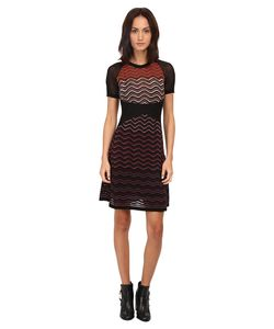 M Missoni | Ripple Stitch Short Sleeve Mesh Dress Eggplant Womens