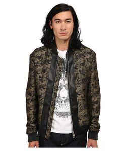 Just Cavalli | Jacquard Bomber W/ Leather Trim /Black Mens Coat