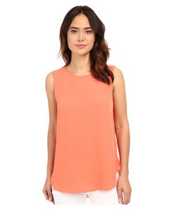 Vince Camuto | Sleeveless Blouse W/ Chiffon Yoke Retro Coral Womens