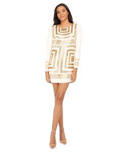Mara Hoffman   Long Sleeve Embellished Mini Dress Cream Womens Dress