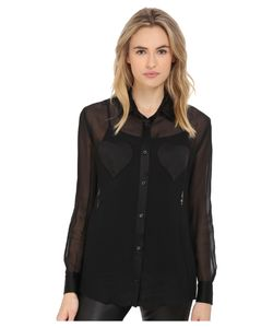 Love Moschino | Sheer Long Sleeve Blouse W/ Heart Chest Detail