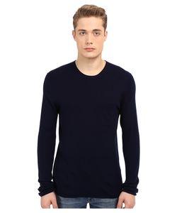 Vince | Wool Silk Long Sleeve Rib W/ Pocket Indigo Mens