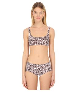 Proenza Schouler | Mini Text Print Sporty Bra Set White/Black/Vermillion Womens