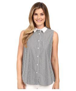 Calvin Klein | Stripe Top With Pleat Back /White Womens Blouse