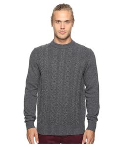 Ben Sherman | Long Sleeve Cable Front Crew Neck Sweater Concrete