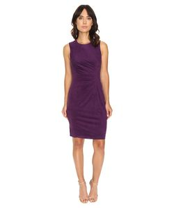 London Times | Suede W/ Pleated Front Plumberry Womens Dress