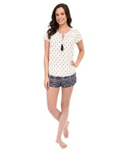 Lucky Brand | Smocked Shorty Set Astral Border Ivory Womens Pajama