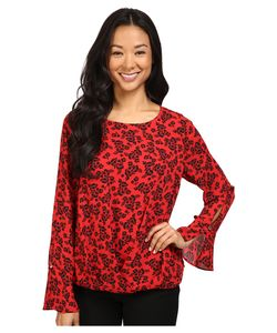 Vince Camuto | Long Sleeve Bouquet Stamp Fold-Over Blouse Fire Glow