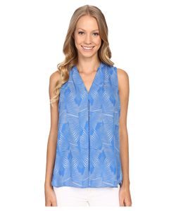 Vince Camuto | Sleeveless Graphic Strip Fan Invert Pleat Blouse Poolside