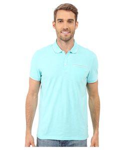 Calvin Klein | Liquid Cotton Short Sleeve Slub Tipped Polo Aqua