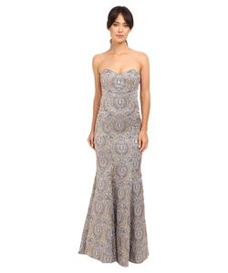 Nicole Miller | Dakota Embroidered Gown Lilac Multi Womens Dress
