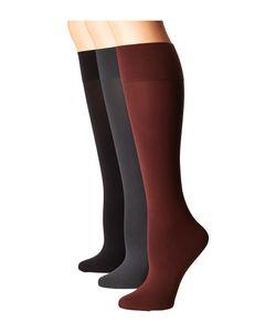 Hue | Simply Skinny Knee Socks 3-Pack Cinnamon/Cobblestone Knee High