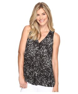 Vince Camuto | Sleeveless V-Neck Textural Reef Drape Front Blouse Rich