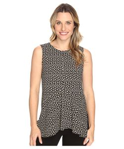 Vince Camuto | Sleeveless Deco Layer Dots Ruffle Front Blouse Rich