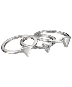 French Connection   Mini Stone Set Triangle Ring Set Rhodium/Clear Stone