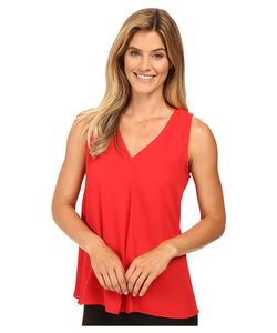 Vince Camuto | Sleeveless V-Neck Drape Front Blouse Fire Glow Womens