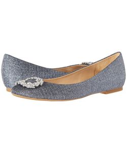 Badgley Mischka | North Woven Metallic Fabric Womens Flat Shoes