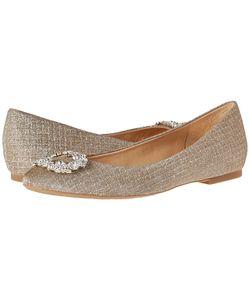 Badgley Mischka | North Champagne Woven Metallic Fabric Womens Flat Shoes