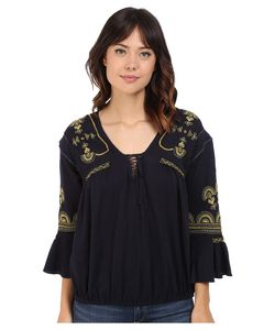 Free People | Chiquita Top Indigo Combo Womens Blouse