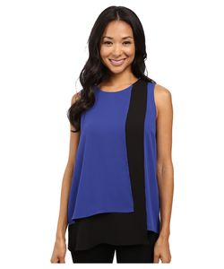 Vince Camuto | Sleeveless Color Blocked Layered Blouse Optic Womens