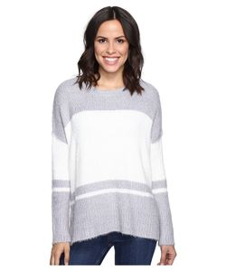 Michael Stars | Fuzzy Oversized Stripe Pullover Sweater Ivory Sweater