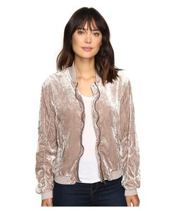 Free People | Ruched Velvet Bomber Jacket Sand Coat