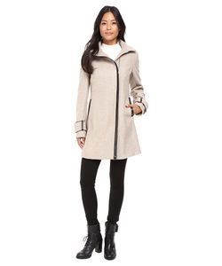 Calvin Klein | Asymmetrical Zip Twill Wool Coat W/ Pu Trim
