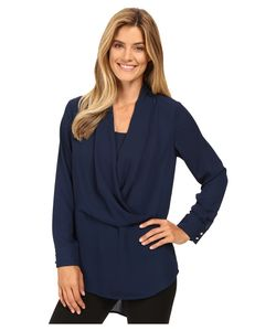 Vince Camuto | Long Sleeve Wrap-Front Tunic Naval Womens Blouse