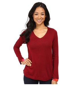 NYDJ Petite | Petite Mixed Media V-Neck Sweater Carmine Promise Womens