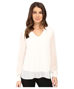 Calvin Klein | Solid High-Low V-Neck Top Soft Womens Blouse