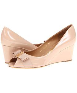 Salvatore Ferragamo | Sissi New Bisque Patent Womens Wedge Shoes