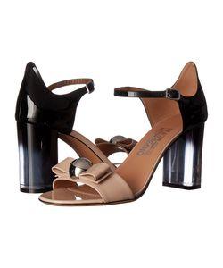 Salvatore Ferragamo | Frilly Macadamia Patent Leather/Nero Patent Leather High Heels