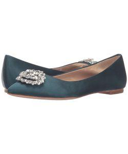 Badgley Mischka | Davis Dark Teal Satin Womens Flat Shoes