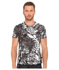 Just Cavalli   Slim Fit Jungle Tattoo Printed T-Shirt Black Variant