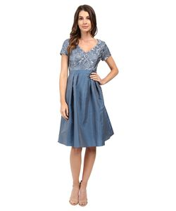 Adrianna Papell | Lace V-Neck With Pleated Skirt Dusty Womens
