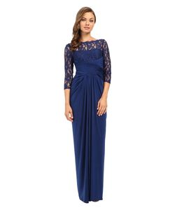 Adrianna Papell | Lace And Venician Jersey Gown Womens Dress