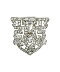 Kenneth Jay Lane | Silver And Crystal Deco Pin Crystal Brooches