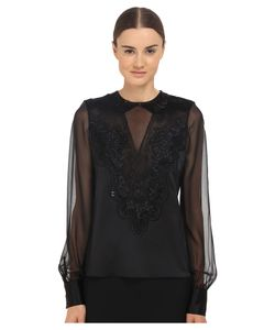 Prabal Gurung | Embroidered Sheer Blouse Womens Blouse