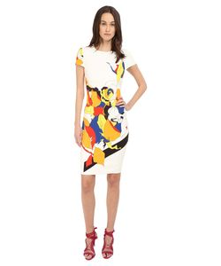 Prabal Gurung | Multi Floral Lace Print Short Sleeve Dress Multi
