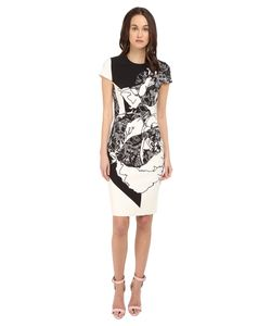 Prabal Gurung | Multi Floral Lace Print Short Sleeve Dress /White