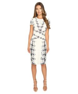 Prabal Gurung | Short Sleeve Printed Sheath Dress Ivory Snakeskin Womens