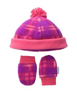 Columbia | Frosty Fleece Hat Mitten Set Infant Punch Plaid Print