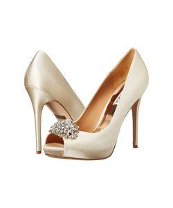Badgley Mischka   Jeannie Ivory Satin High Heels