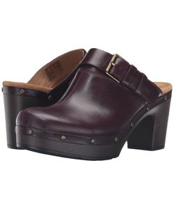 Clarks | Ledella York Aubergine Leather Clog Shoes