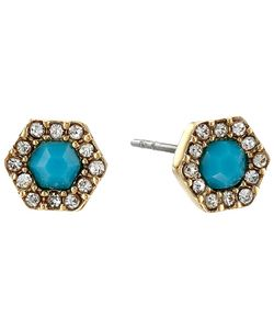 Rebecca Minkoff | Pave Gem Stud Earrings 12k With Turquoise And